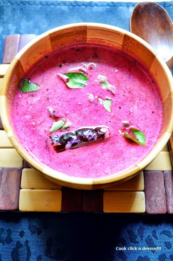 closeup shot if beetroot raita