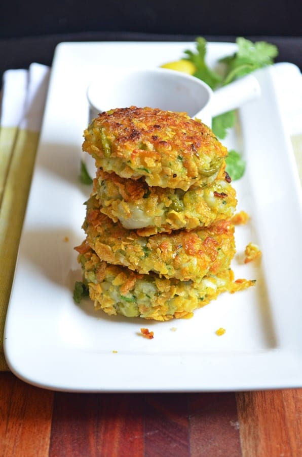 crispy peas cutlet stacked in a white plate and served for snacking.