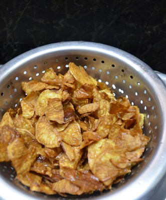 fried sweet potato chips ready
