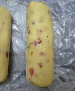Shaped cookie dough for making tutti frutti cookies