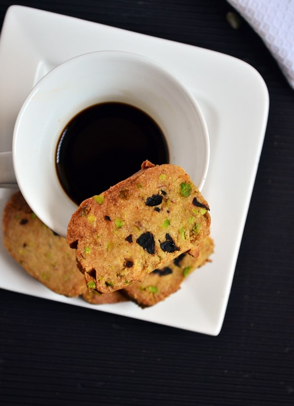 cranberry pistachio cookies served with black tea.