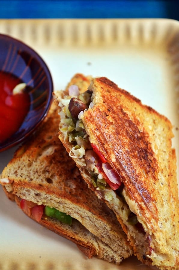 Sprouts Sandwich Recipe , Mixed Sprouts Sandwich Recipe