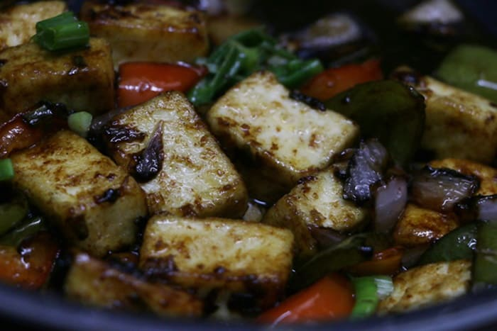 add vinegar, mix well and remove from flame- paneer manchurian recipe