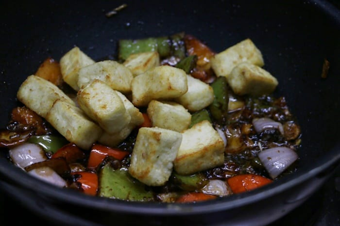 Add paneer cubes and mix well- paneer manchurian recipe