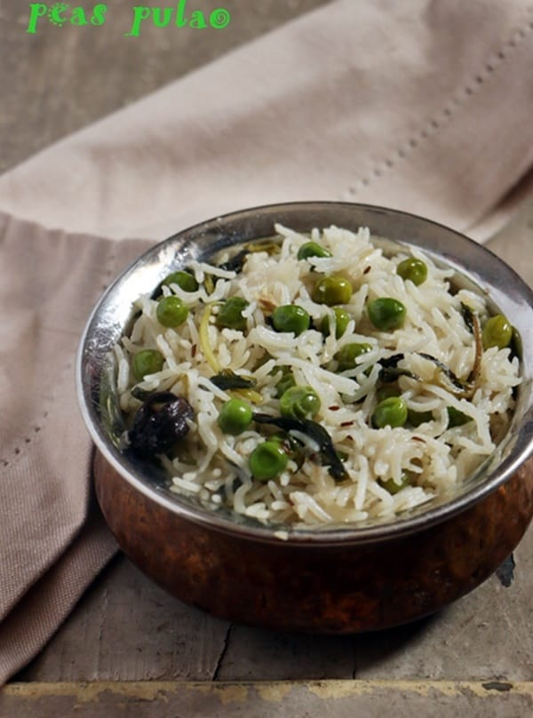 Matar pulao served for dinner