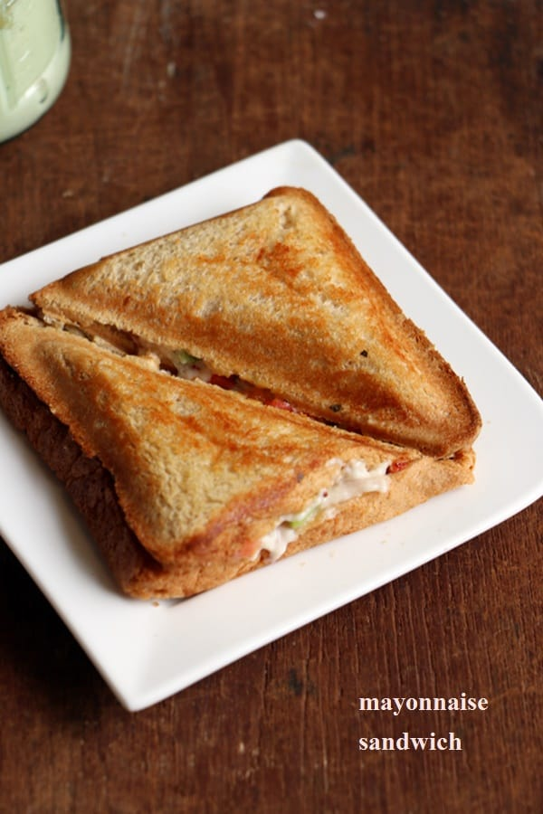 vegetable mayonnaise sandwich toasted in a electric sandwich maker.