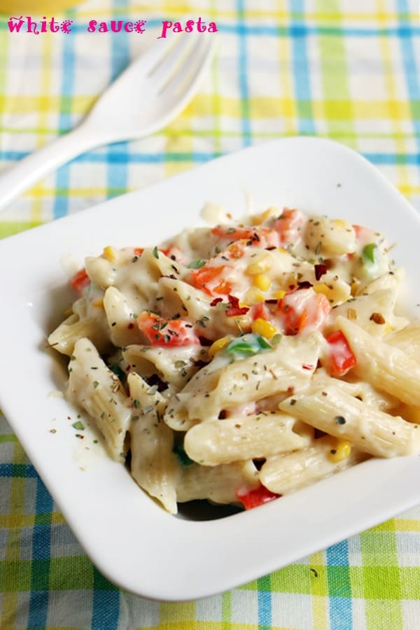 closeup shot of pasta in white sauce