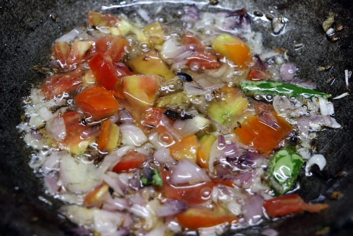 sauteing tomatoes for mix veg recipe