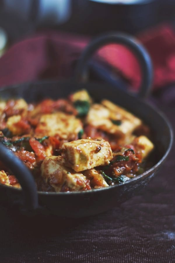 closeup shot of paneer masala