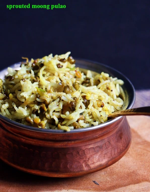 sprouted moong pulao recipe