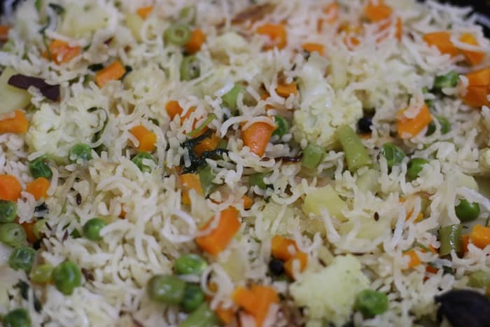 veg pulao read to be served
