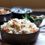 This veg pulao recipe is delicious, easy and gives you the perfect restaurant style veg pulao every single time. You can make this pilaf very easily for a crowd. With a chockablock of veggies and mild spices, this vegetable pulao will easi;y be the star of any feast!