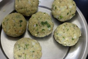 potato mixture divided and shaped for aloo tikki recipe