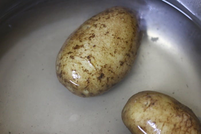 scrubbed potatoes