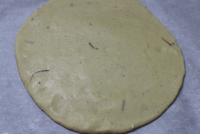 kaju katli rolled dough
