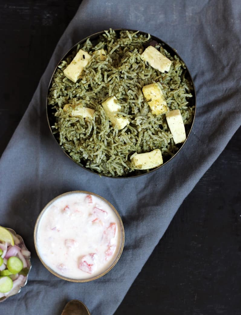 palak rice ready to serve