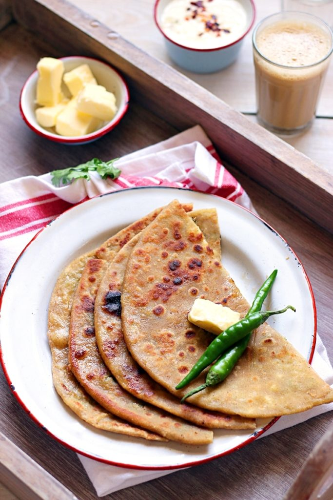 aloo paratha served with butter