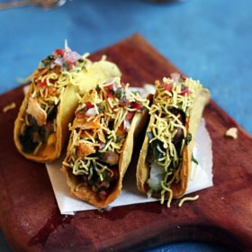 aloo chat recipe served in taco shell