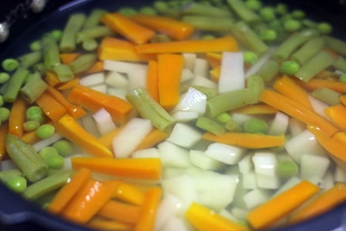 vegetable stew making