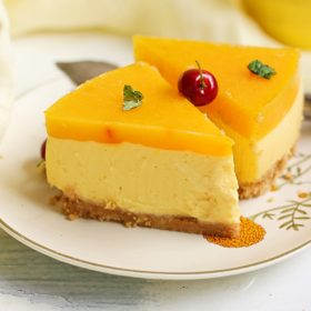 eggless and no gelatin mango cheesecake recipe