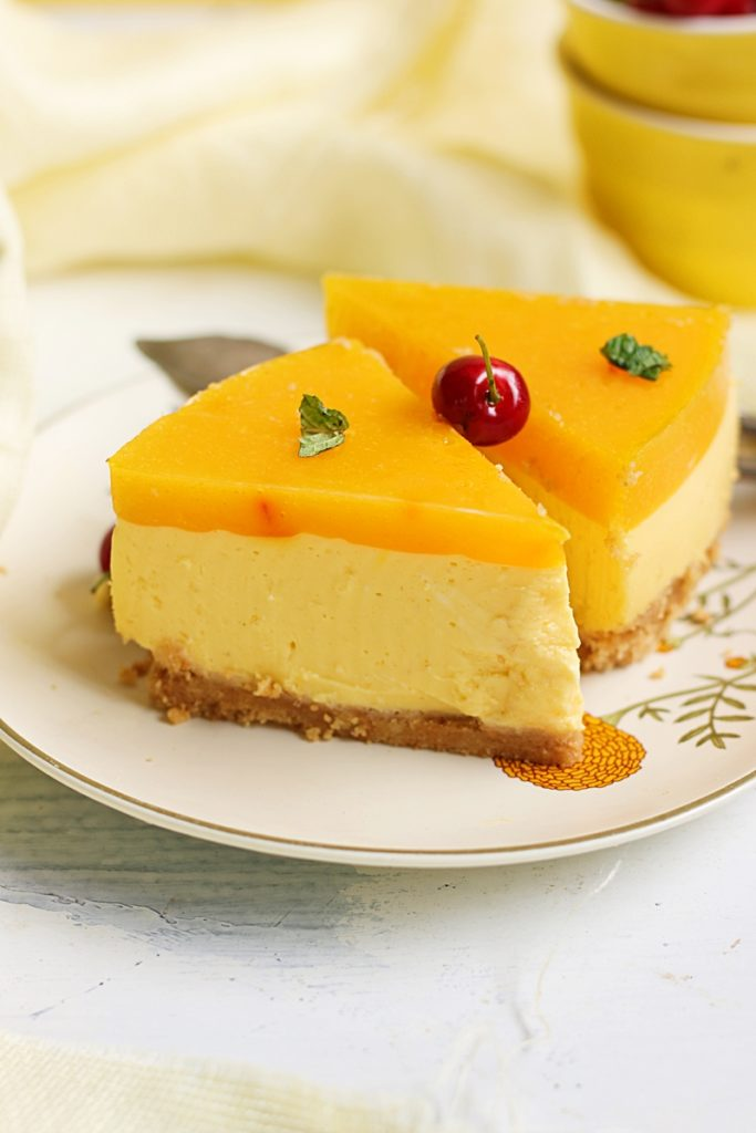 mango cheesecake recipe, no bake eggless 2