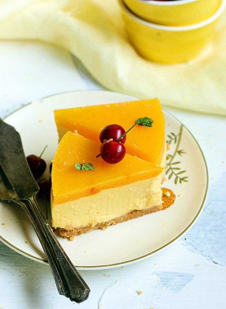 mango cheesecake recipe, no bake eggless 3