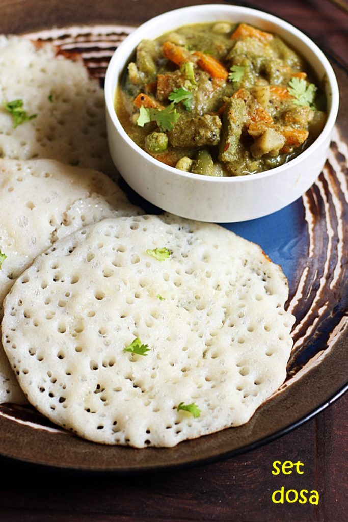soft and porous set dosa with veg sagu