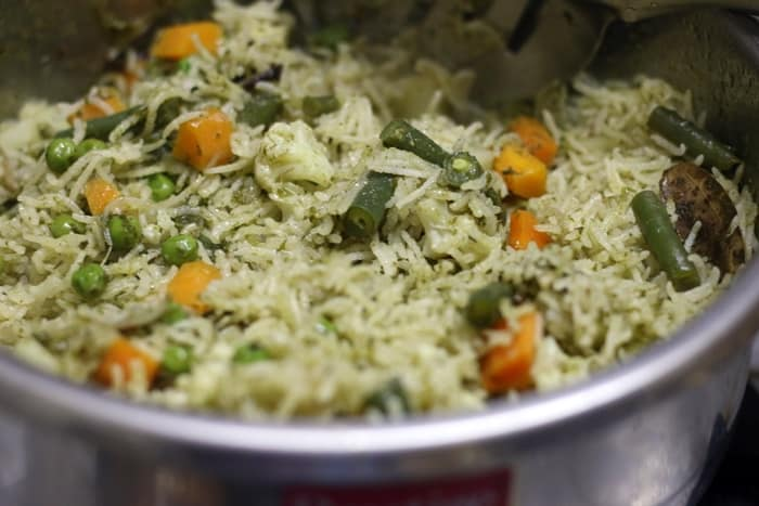 veg biryani restaurant style recipe step 9