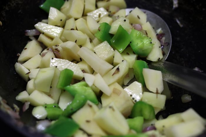 cubed potatoes for making aloo paneer