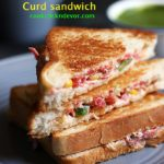 easy curd sandwich recipe with vegetables, thick yogurt and mild seasoning