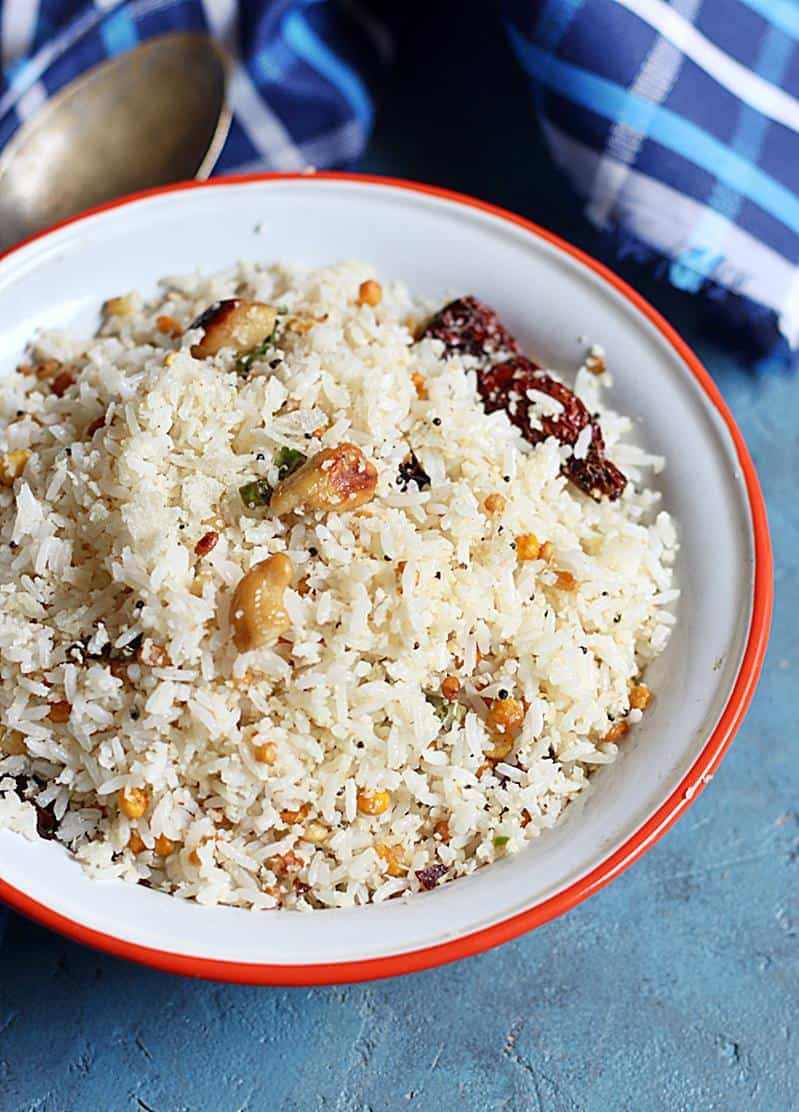 thengai sadham recipe-south Indian coconut rice recipe-vegan and gluten free