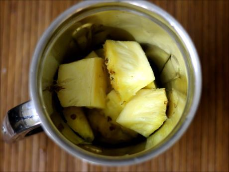 cubed pineapple for virgin pina colada recipe