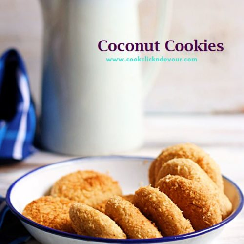 Eggless coconut cookies served in a bowl