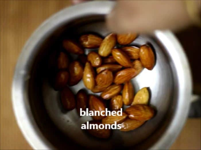 Blanched almonds for making badam milk recipe