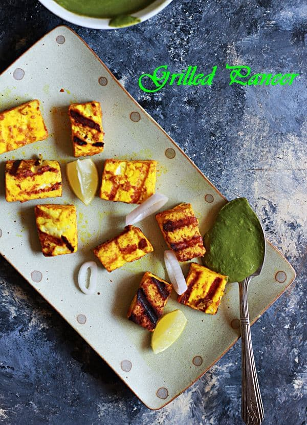 grilled paneer recipe served with green chutney
