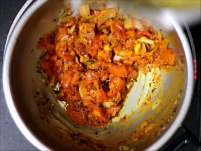 Making tomato pappu recipe