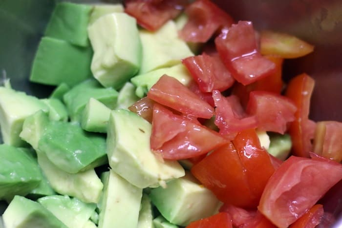 making avocado salad