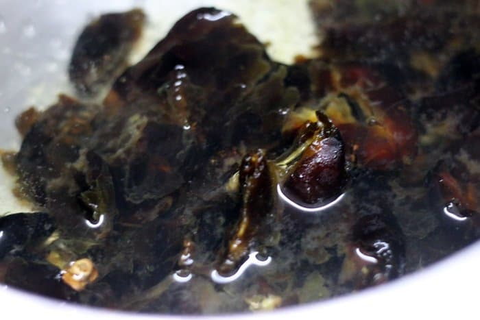 dates soaked in hot water