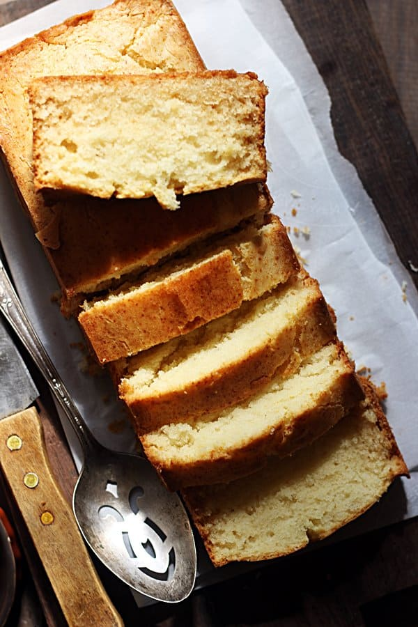 Thick slices of freshly baked butter cake