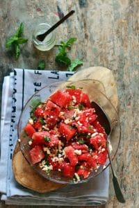 Overhead shot of feta watermelon salad