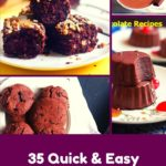 A collage with various chocolate recipes