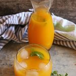 Chilled Mango Lemonade Served with ice cubes