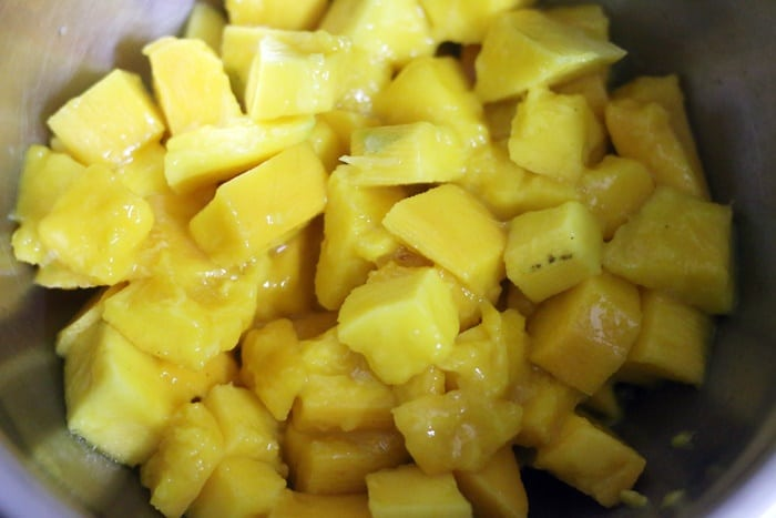 Chopped mangoes for mango salad
