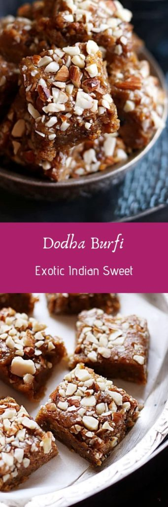 Dodha burfi recipe with step by step photos. Dodha burfi recipe is an easy to make, very rich and delicious milk sweet recipe from Punjab.
