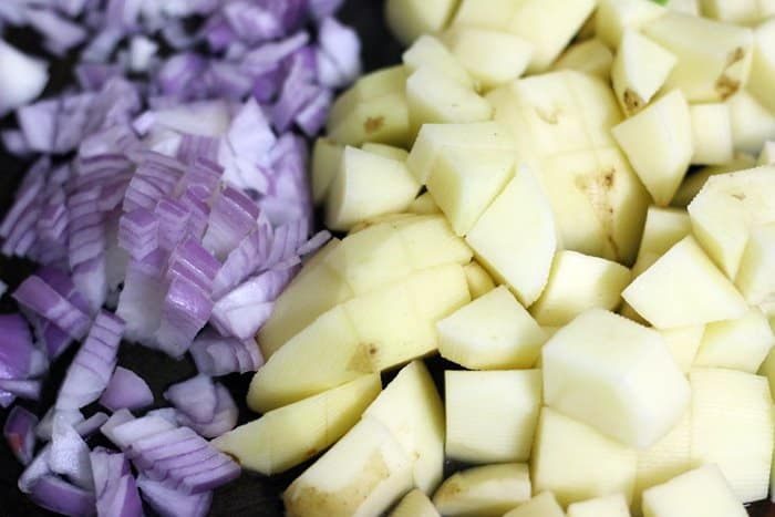 potatoes and onions for aloo palak
