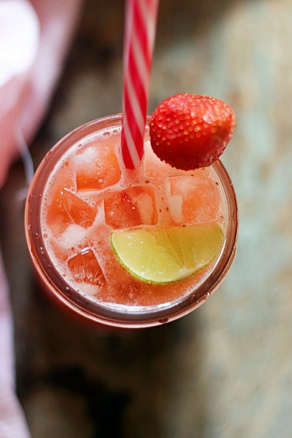 Strawberry agua fresca is an easy and refreshing Mexican drink with just 4 ingredients. You will love this light, delicious and flavorful drink on a hot summer afternoon.