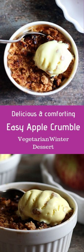Apple crumble recipe- make delicious buttery crunchy and comfrting apple crumble that is perfectly sweet wit juicey stewed apples with this easy recipe
