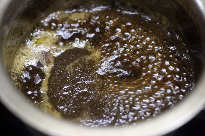 brewing jaggery tea