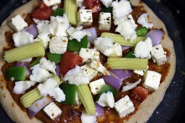 paneer pizza ready to bake
