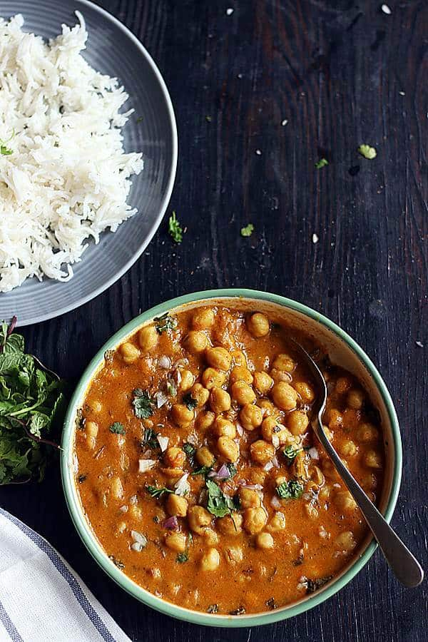 instant pot chickpea curry served with rice